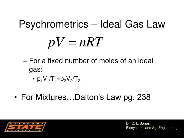 Psychrometrics – Ideal Gas Law