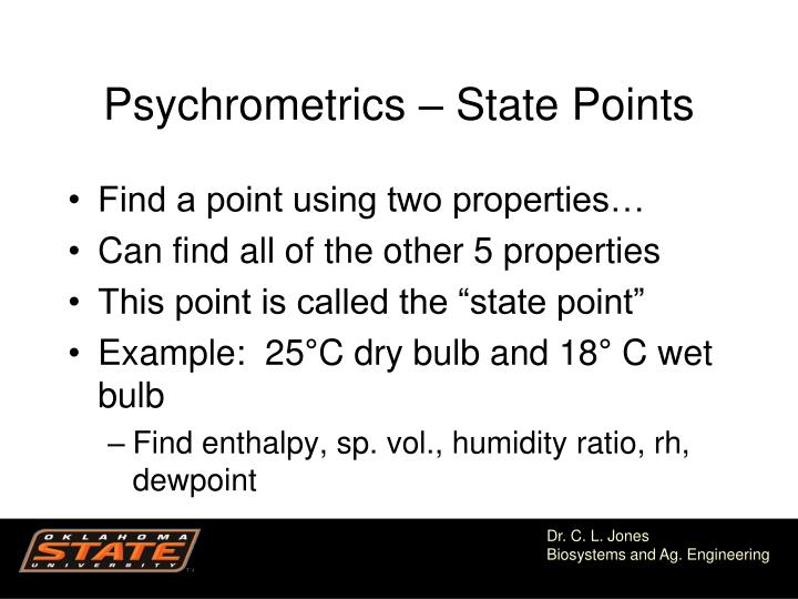 Psychrometrics – State Points