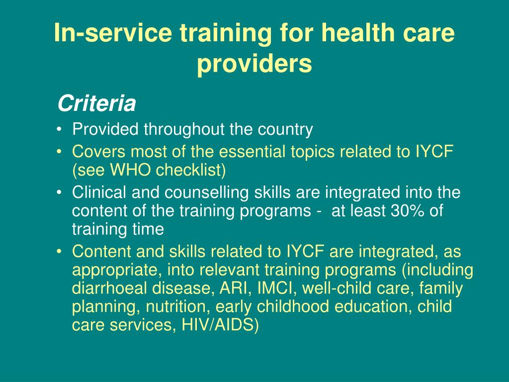 In-service training for health care providers