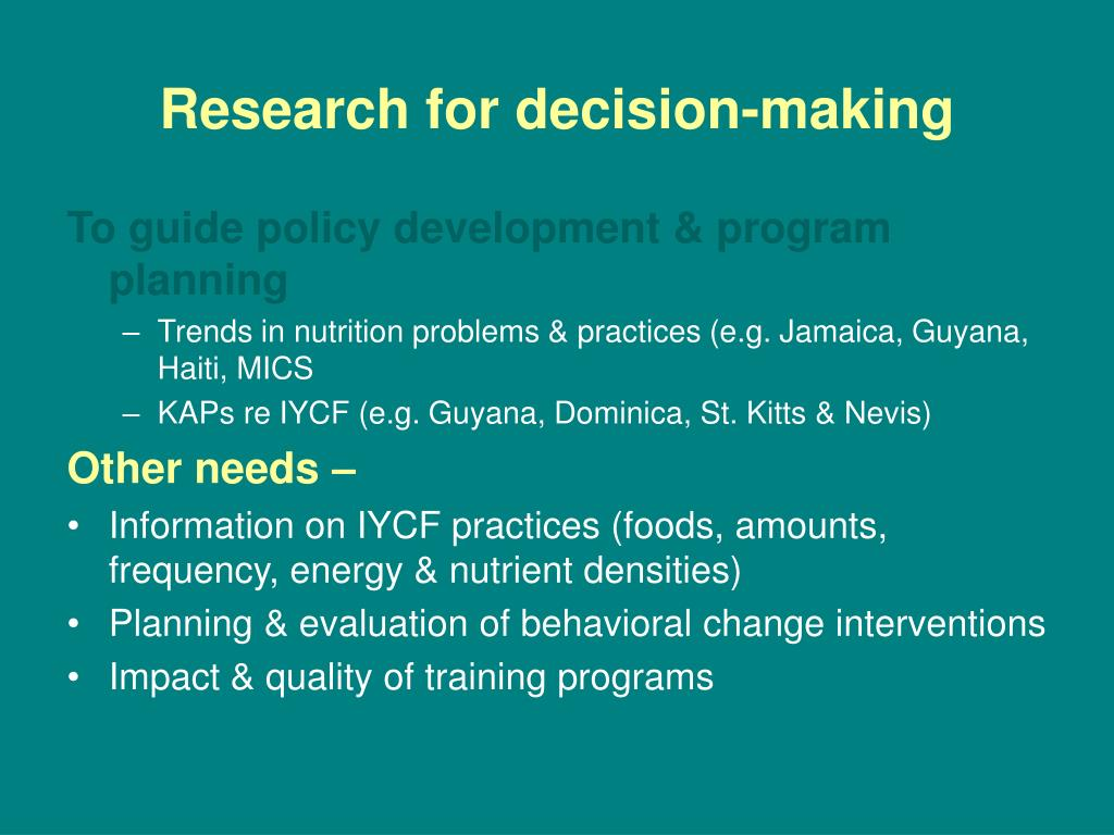 Research for decision-making