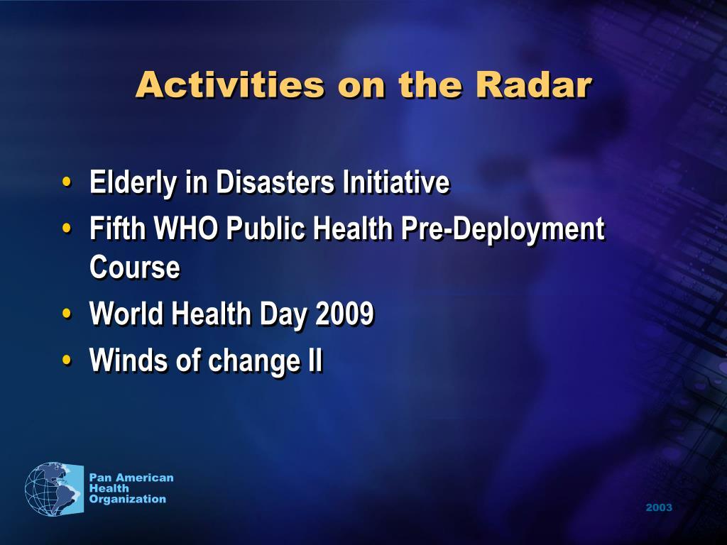 Activities on the Radar
