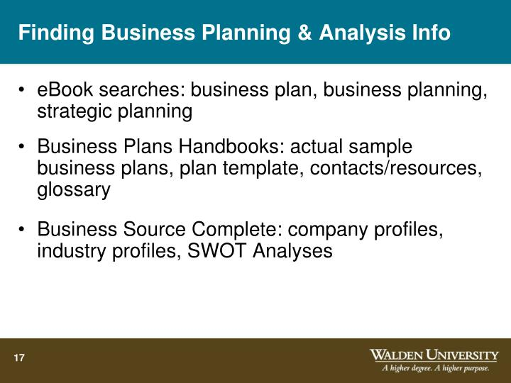 Finding Business Planning & Analysis Info
