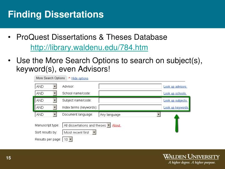 Finding Dissertations