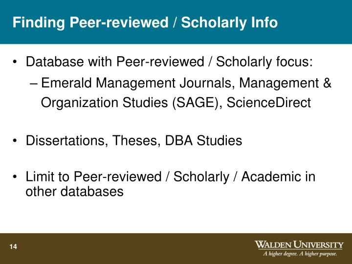 Finding Peer-reviewed / Scholarly Info