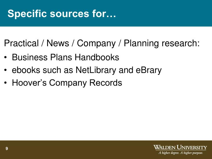 Specific sources for…