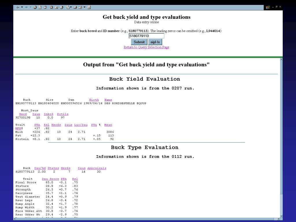 Get yield and type evaluation - output