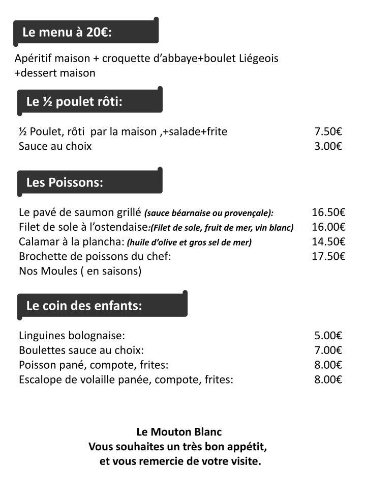 Le menu à 20€: