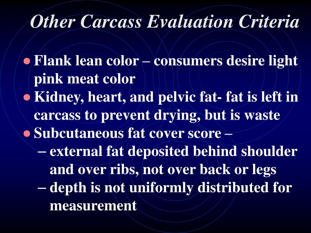 Other Carcass Evaluation Criteria