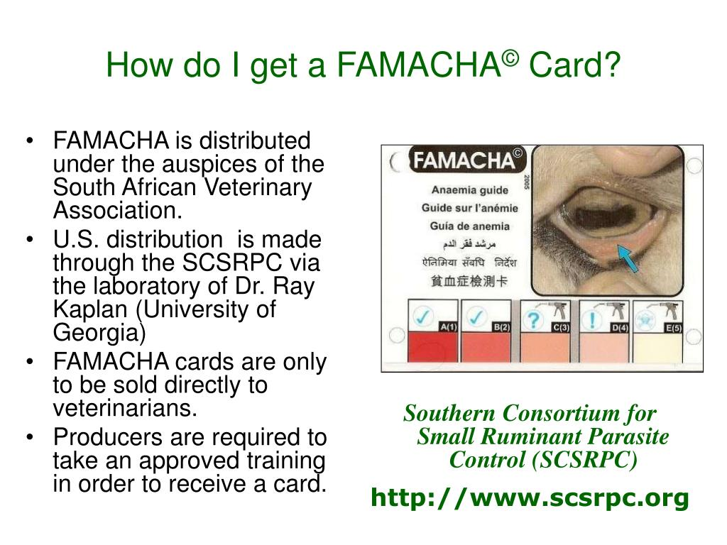 FAMACHA is distributed under the auspices of the South African Veterinary Association.