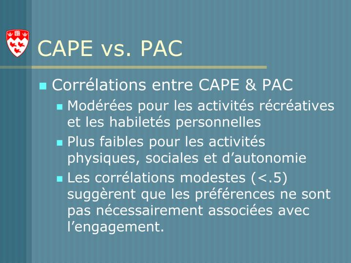 CAPE vs. PAC