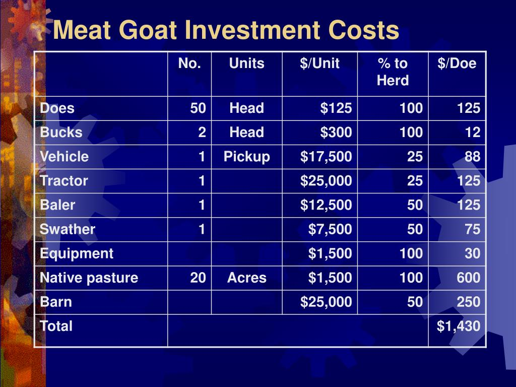 Meat Goat Investment Costs
