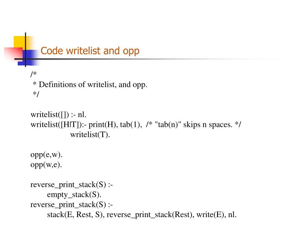 Code writelist and opp