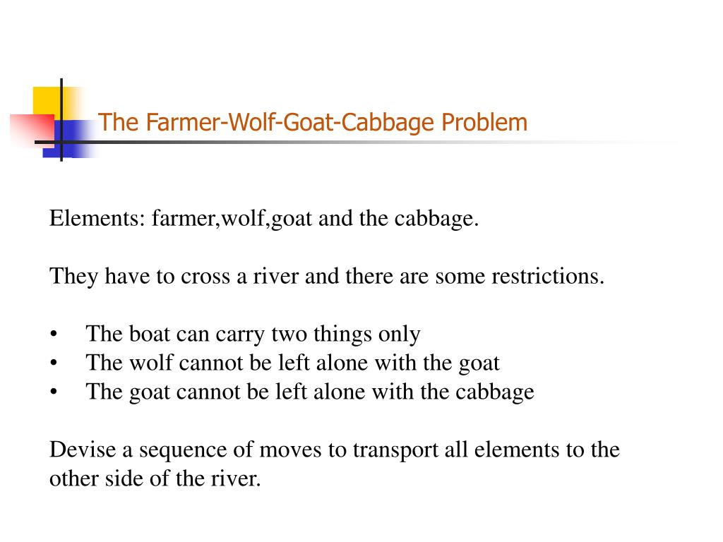 The Farmer-Wolf-Goat-Cabbage Problem