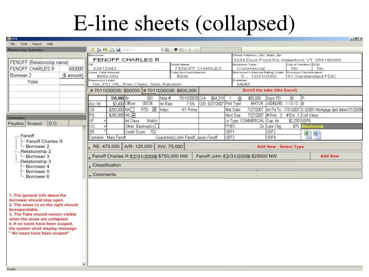 E-line sheets (collapsed)