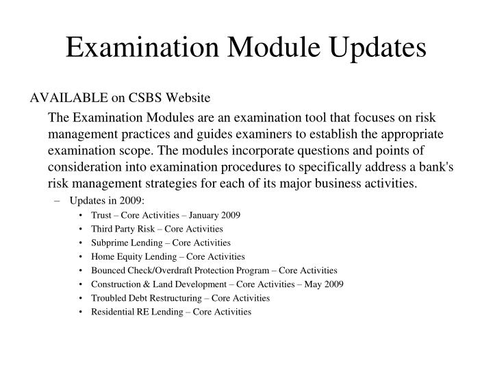 Examination Module Updates