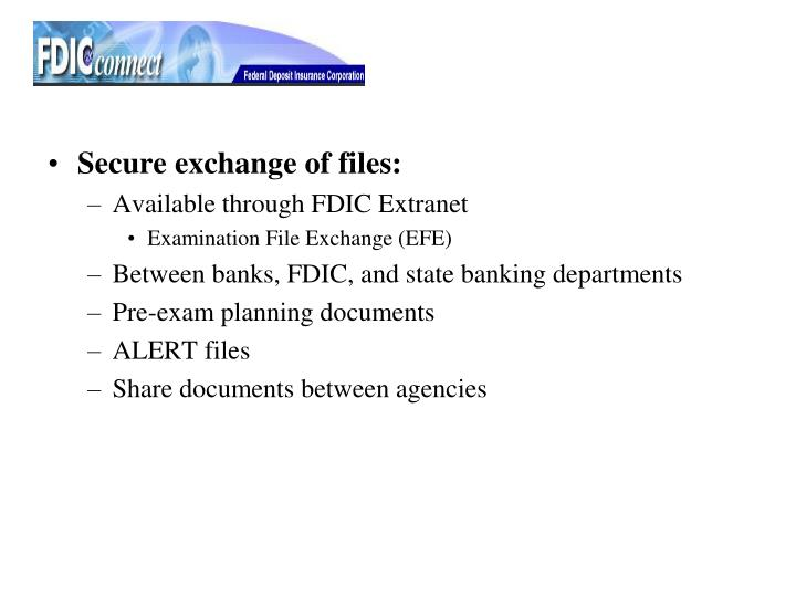 Secure exchange of files: