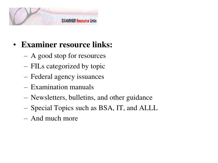 Examiner resource links: