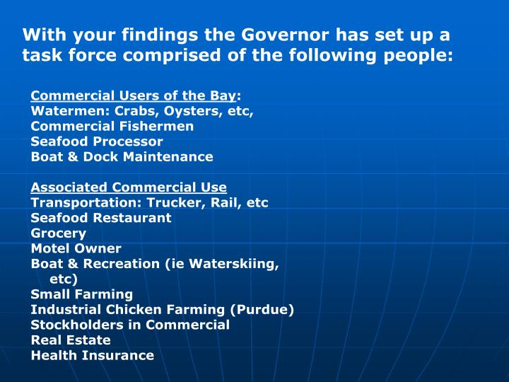 With your findings the Governor has set up a task force comprised of the following people: