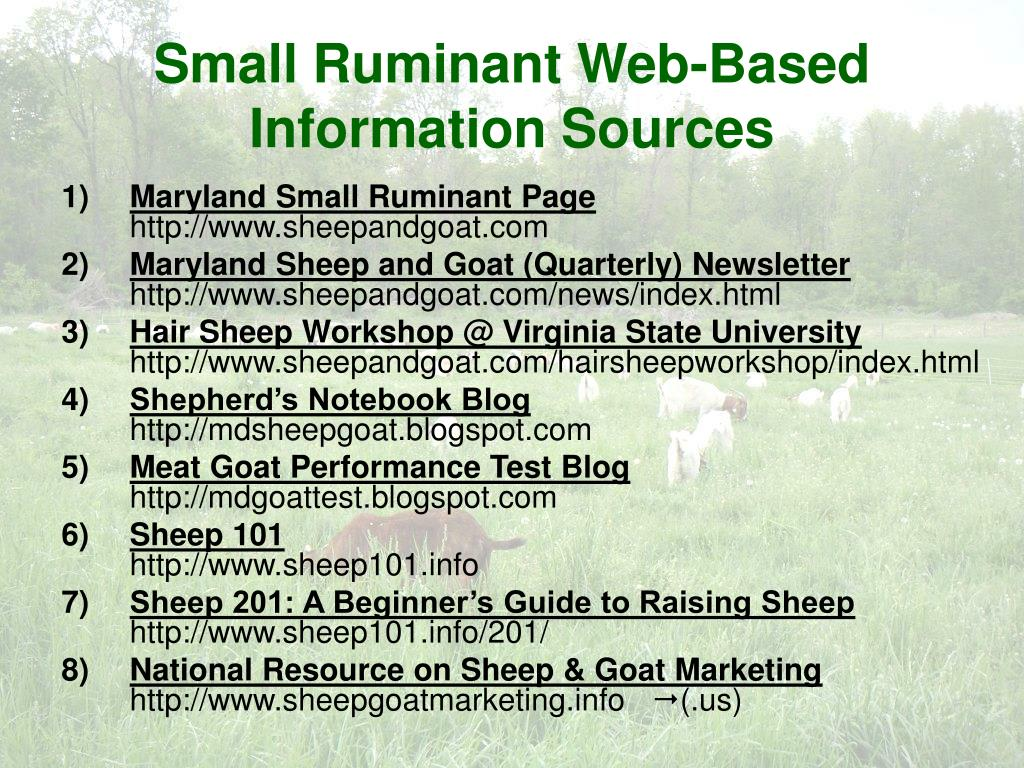 Small Ruminant Web-Based Information Sources