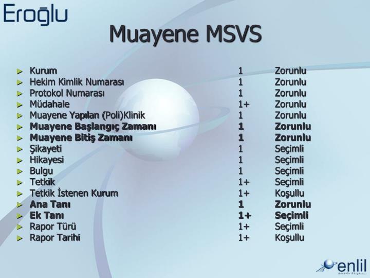 Muayene MSVS