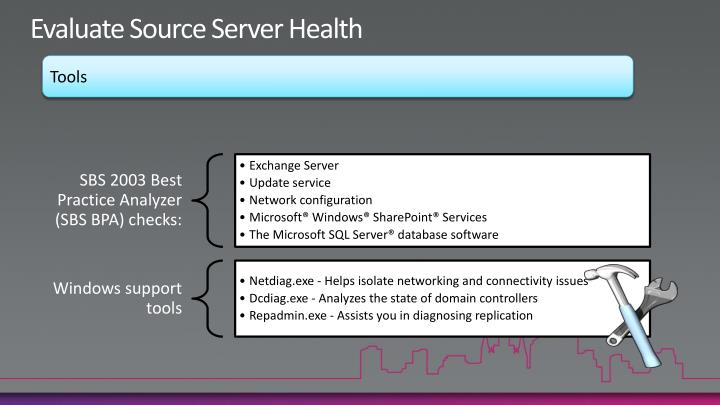 Evaluate Source Server Health
