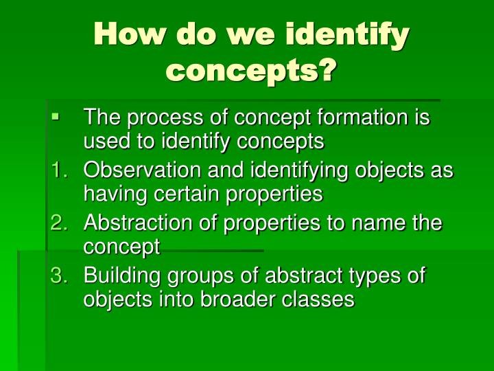 How do we identify concepts?