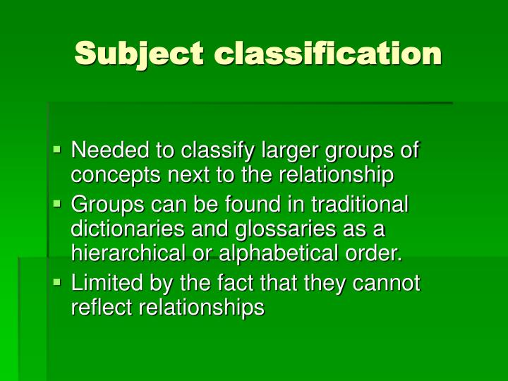 Subject classification