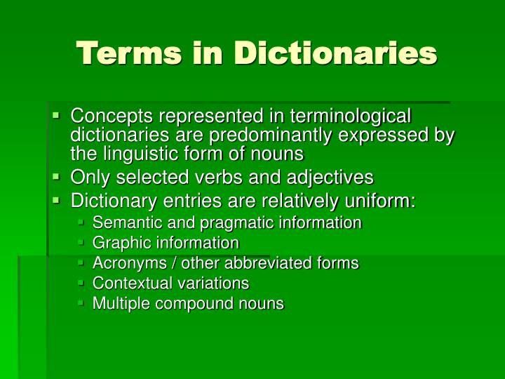 Terms in Dictionaries