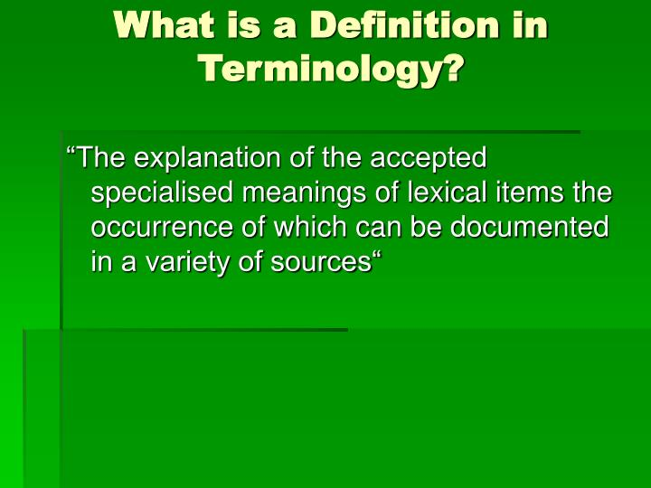 What is a Definition in Terminology?
