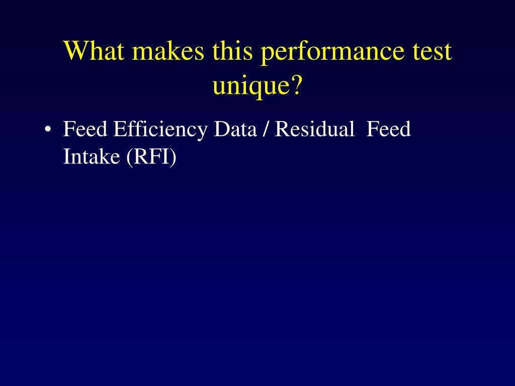 What makes this performance test unique?