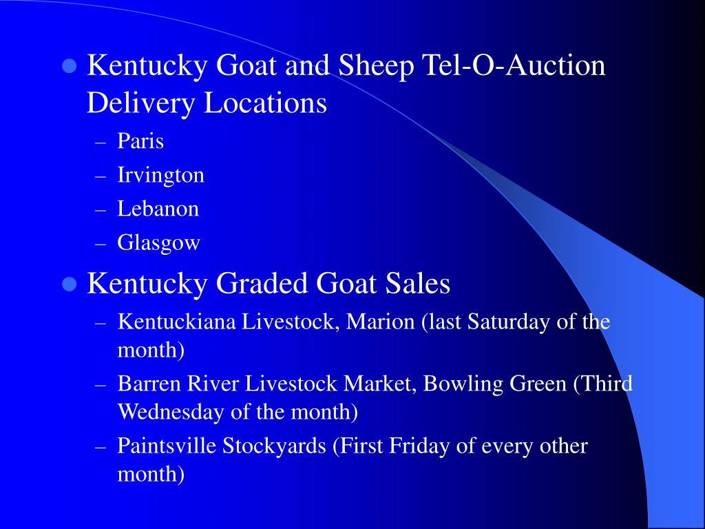 Kentucky Goat and Sheep Tel-O-Auction Delivery Locations