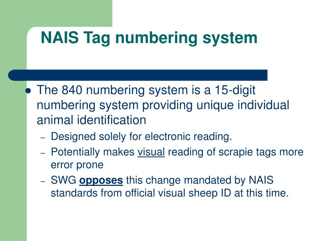 NAIS Tag numbering system
