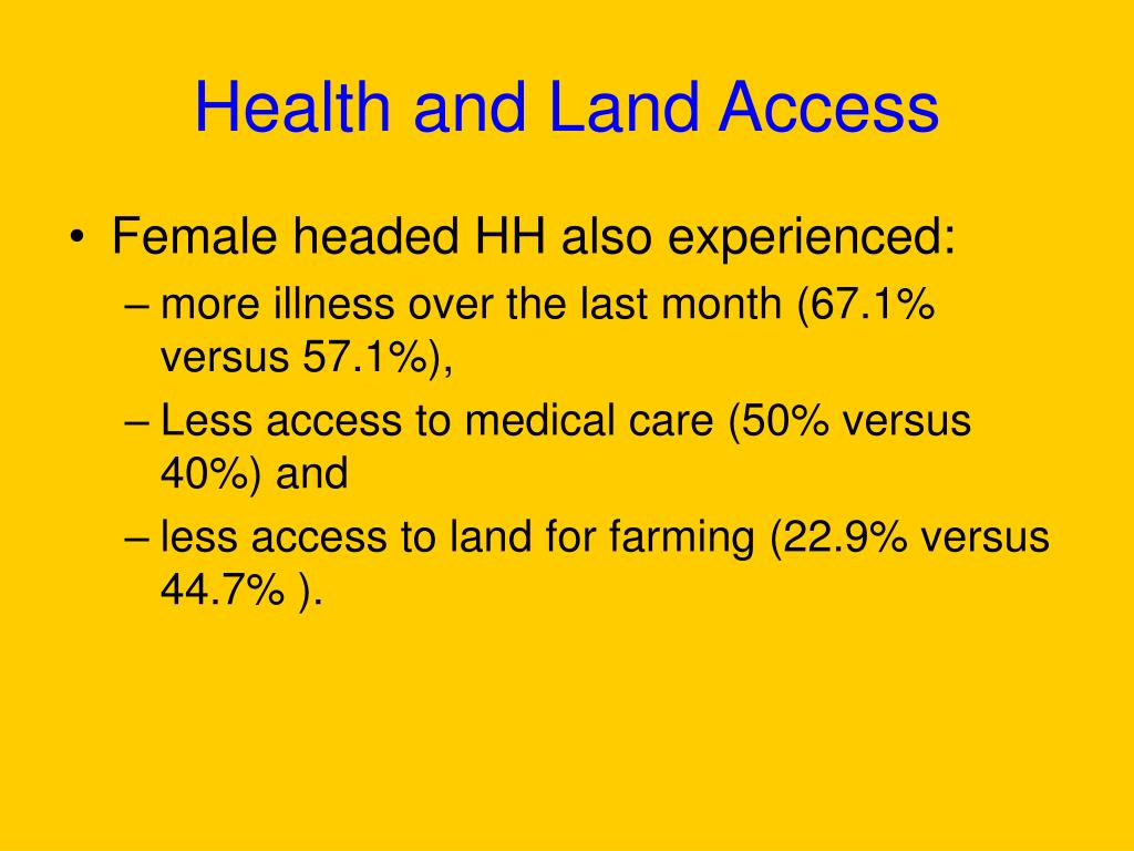 Health and Land Access