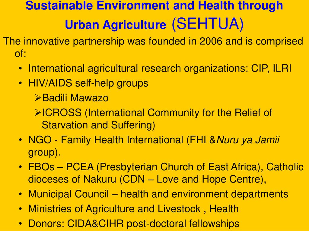 Sustainable Environment and Health through