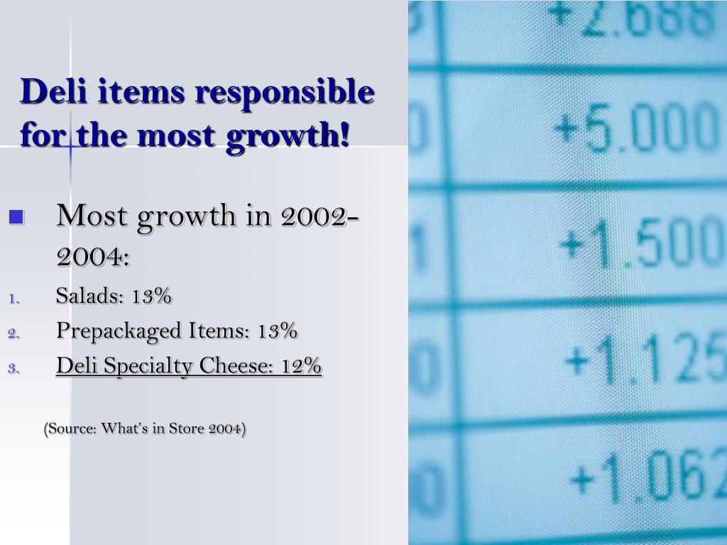 Deli items responsible