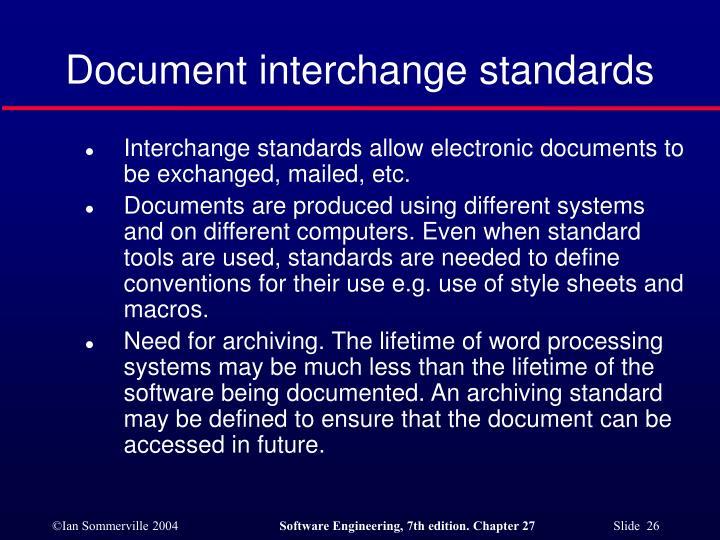 Document interchange standards