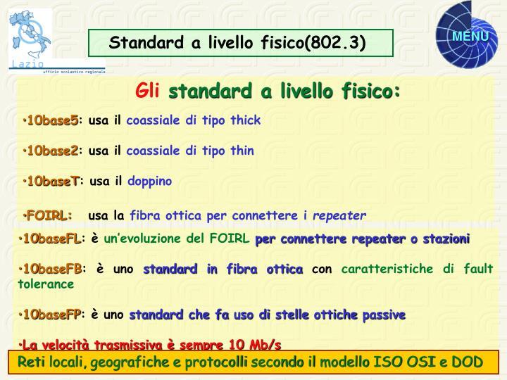 Standard a livello fisico(802.3)