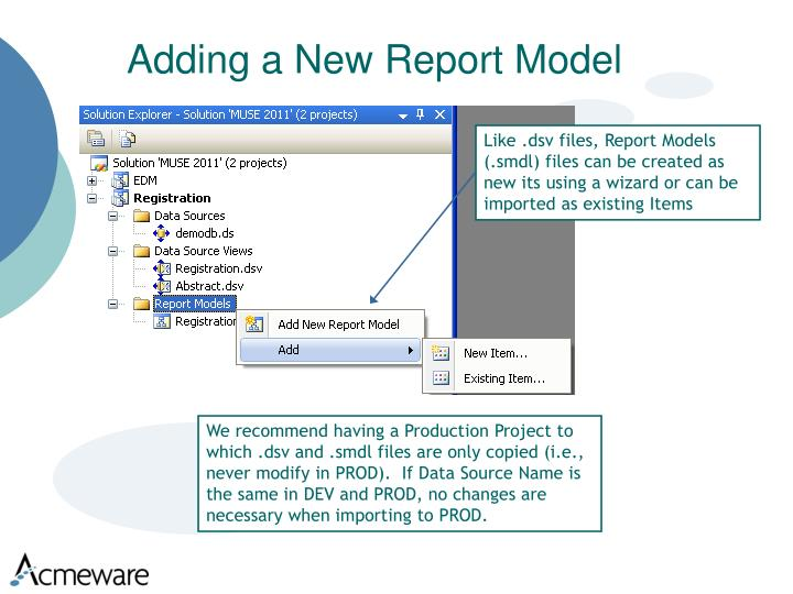 Adding a New Report Model