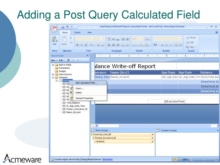 Adding a Post Query Calculated Field