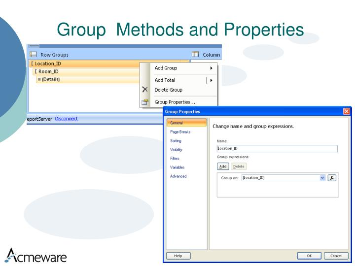 Group  Methods and Properties