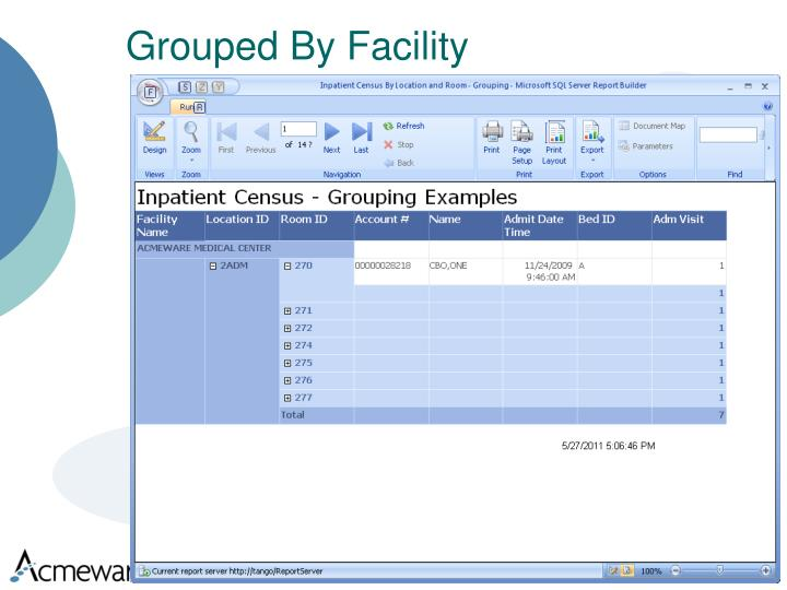 Grouped By Facility