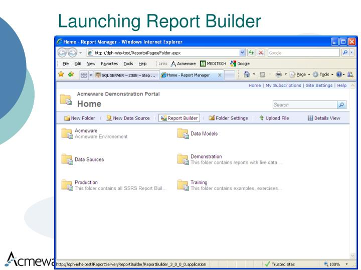 Launching Report Builder