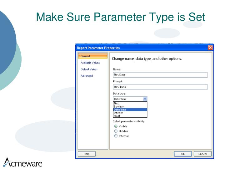 Make Sure Parameter Type is Set