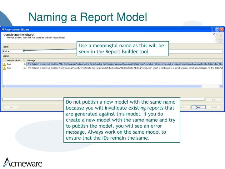 Naming a Report Model