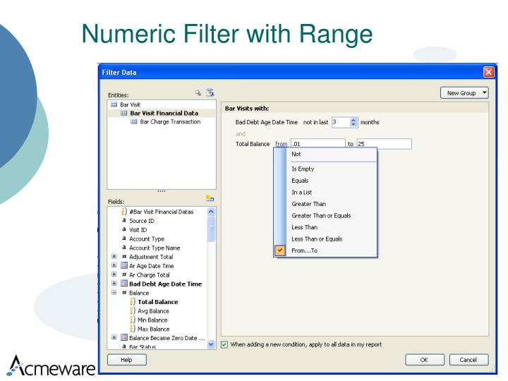 Numeric Filter with Range