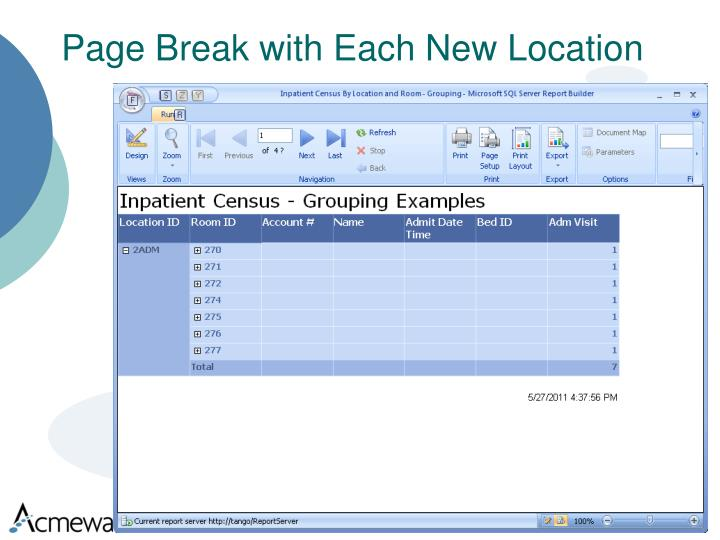 Page Break with Each New Location