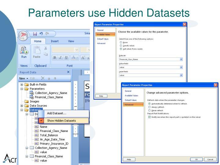Parameters use Hidden Datasets