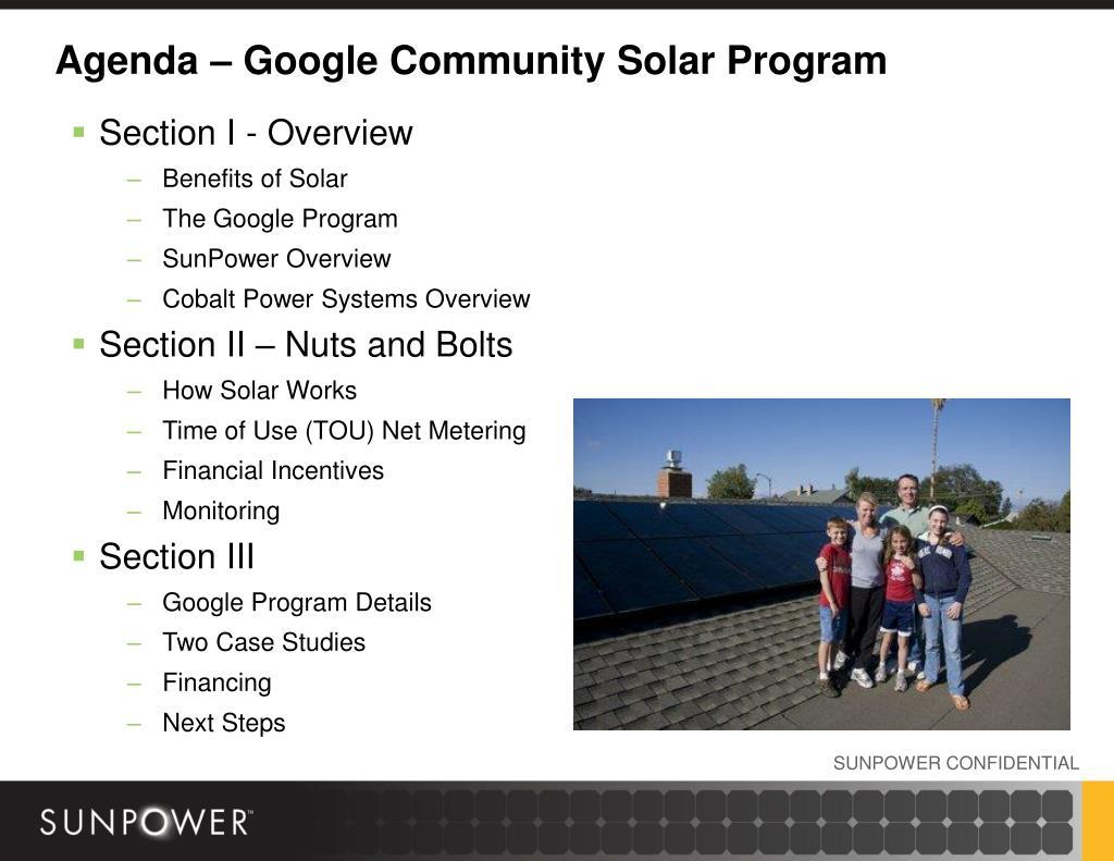Agenda – Google Community Solar Program