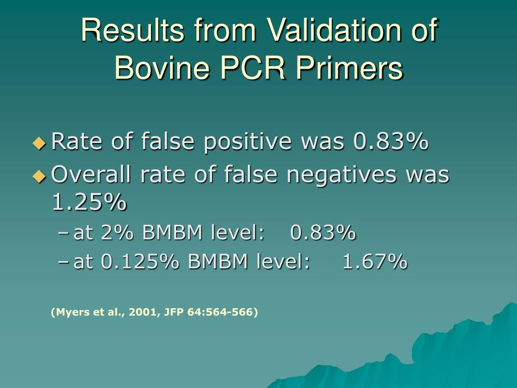 Results from Validation of Bovine PCR Primers