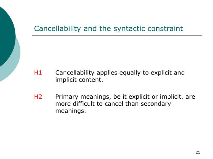 Cancellability and the syntactic constraint